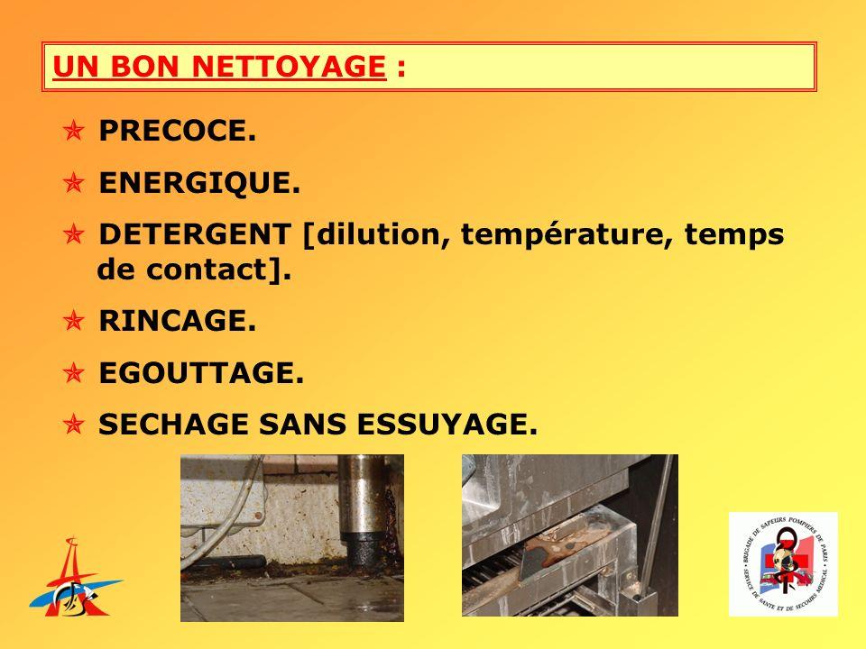UN BON NETTOYAGE :  PRECOCE.  ENERGIQUE.  DETERGENT [dilution, température, temps de contact].
